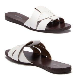 NWT Woven Faux Leather Slide Sandals
